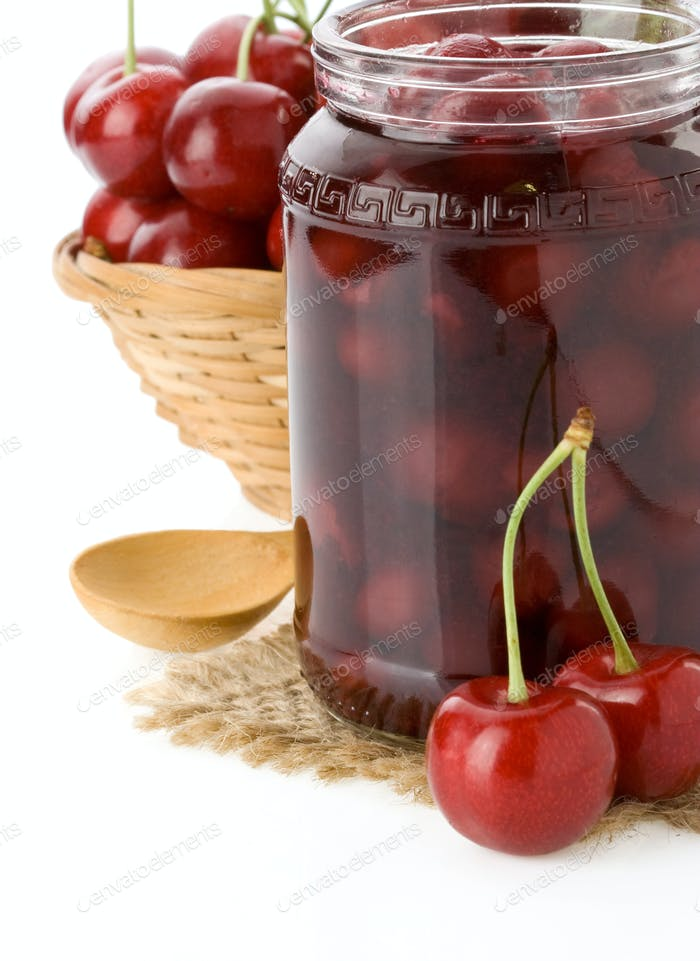 cherry jam isolated on white