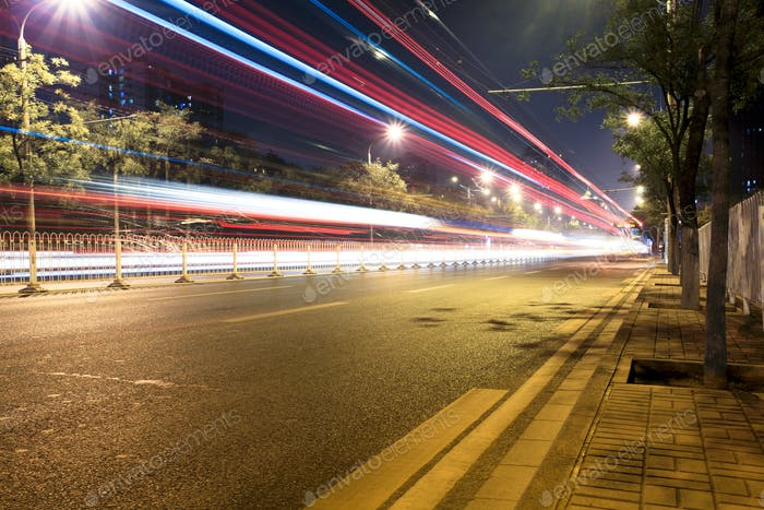 night traffic on street