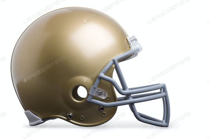 Gold Football Helmet Isolated on White Background