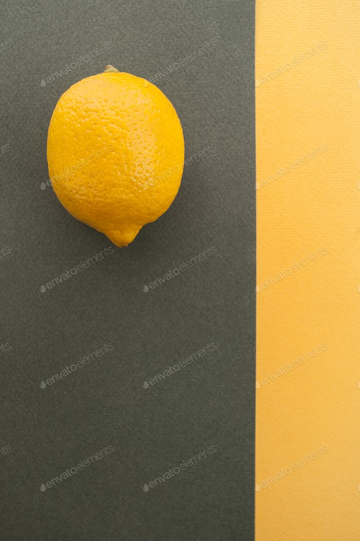 Fresh lemon on a gray-yellow textured background with a place fo