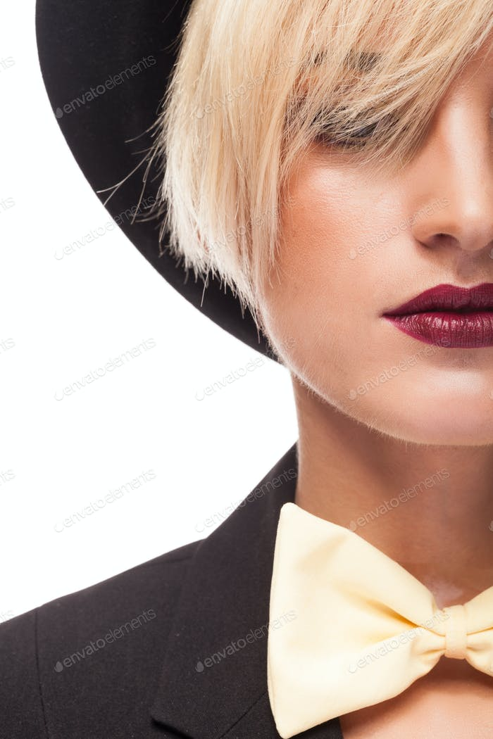 Close up Portrait of beautiful woman wearing hat