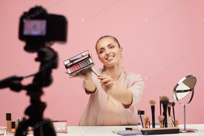 Woman making beauty content