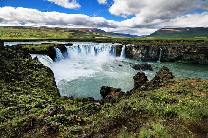 Amazing waterfalls in a beautiful Iceland landscape.