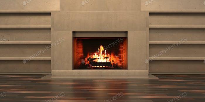 Burning fireplace, cozy home interior. 3d illustration