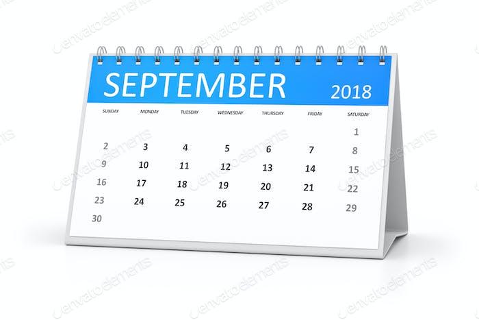 table calendar 2018 september