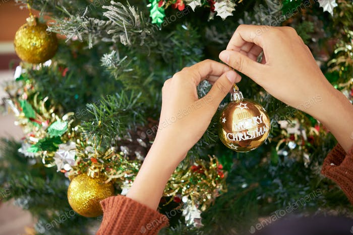 Hanging bauble on fir tree