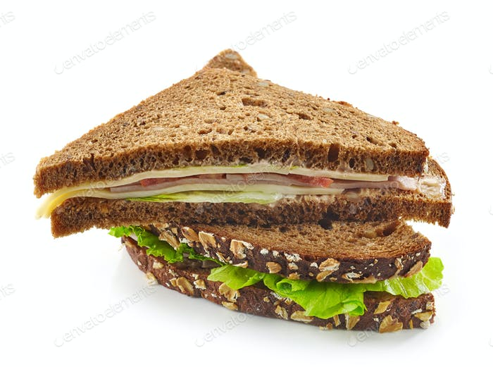 Triangle rye sandwich with sausage and cheese
