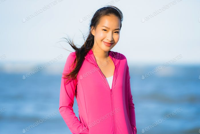 Portrait beautiful young asian woman running or exercise on the