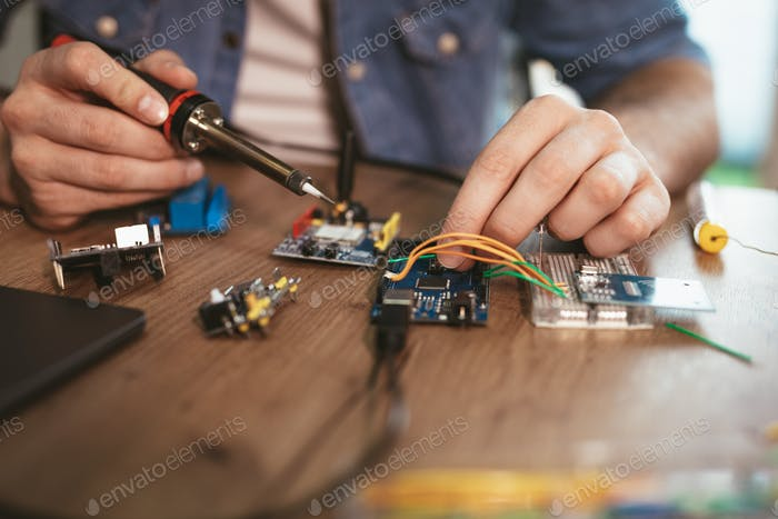 Soldering Electronic Circuit Board
