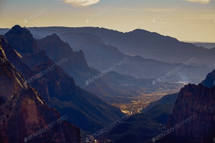 Landscape view of Zion national park valley from Observation point, Utah