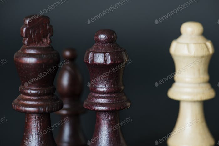 Closeup of chess pieces