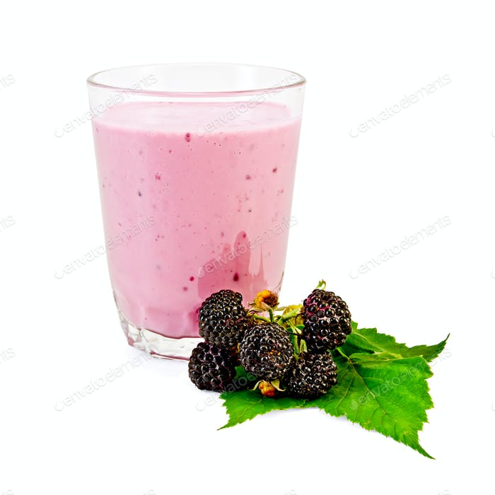 Milkshake with a blackberry and a leaf