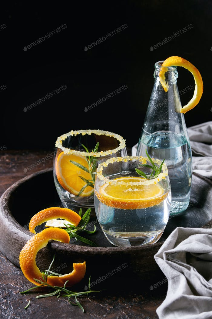 Tonic cocktail with rosemary and orange