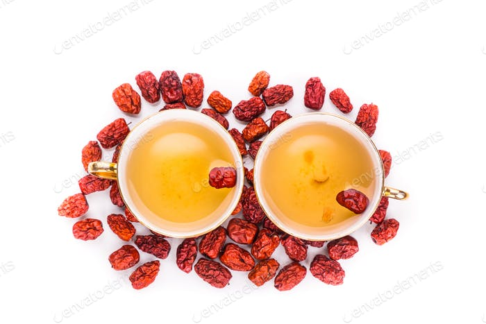 Red dates tea served in traditional Chinese tea cups
