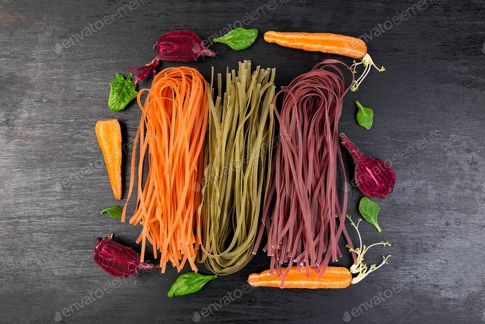 Colored Raw Vegetable Vegetarian Pasta