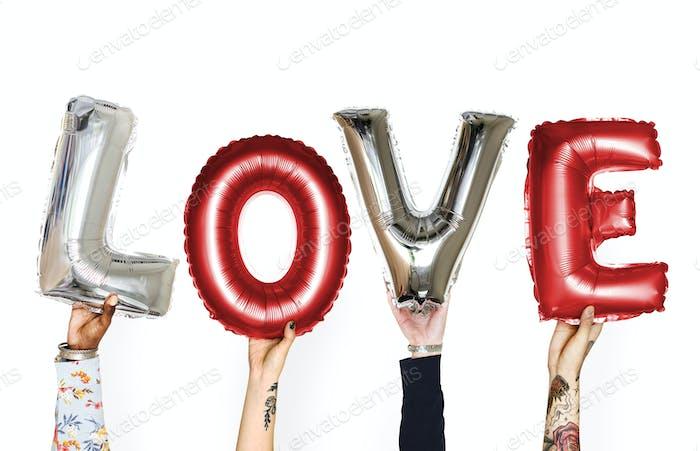 DIversity hands holding love balloon