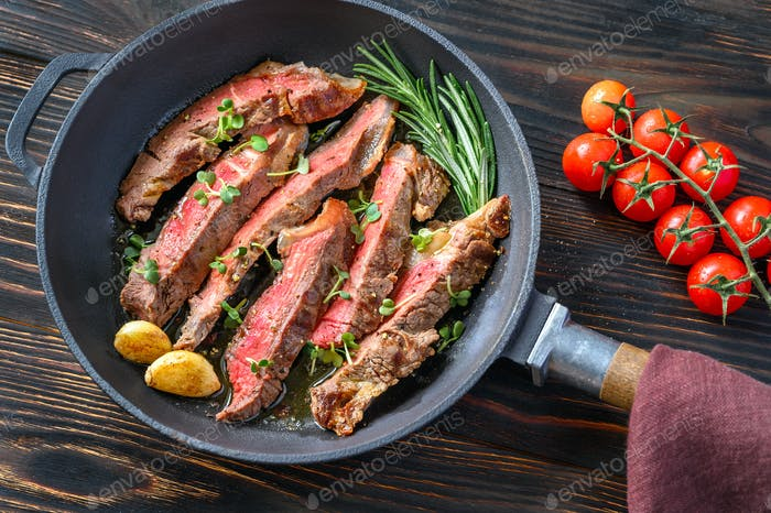 Beef steak in the frying pan