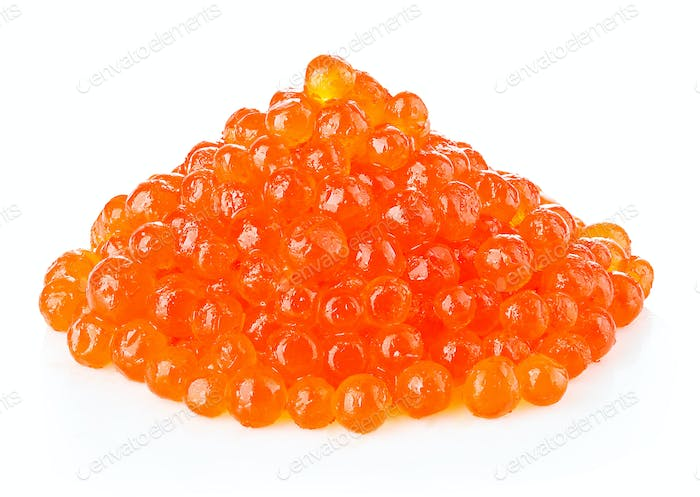 Red caviar close-up isolated on white background.