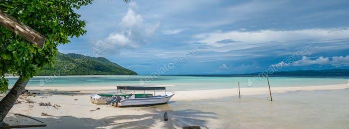 Fisherman Boat on Kri Island, Raja Ampat, Indonesia. West Papua