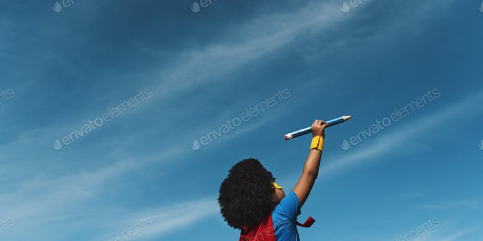 Little Boy Playing Toy Plane Concept