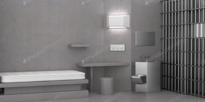 Jail cell supermax security room interior. 3d illustration