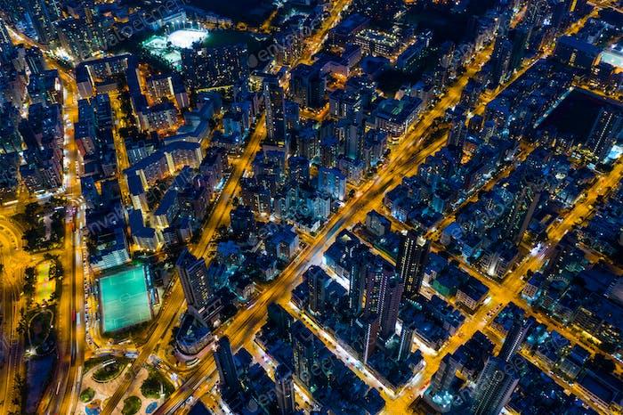 Kowloon city, Hong Kong 22 September 2019: Top view of Hong Kong city at night