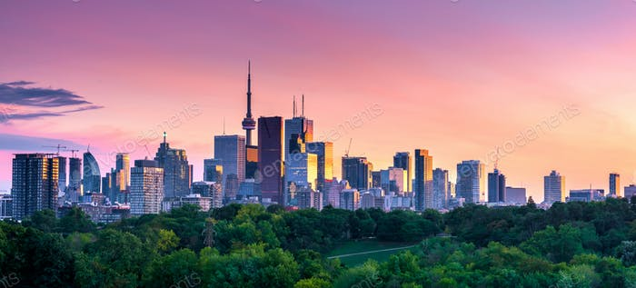 Toronto city view from Riverdale Avenue. Ontario, Canada