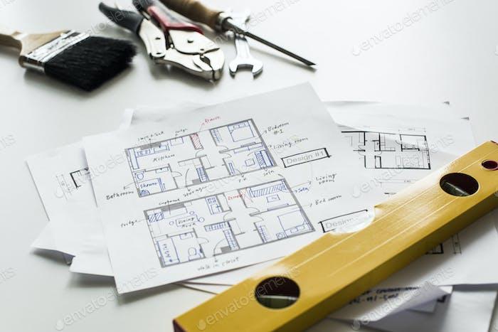 Flat lay of house blueprint isolated on white background