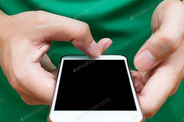 Closeup  hands holding smartphone