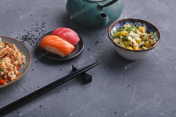 Asiatische Lebensmittel Backgroung mit Kopierraum