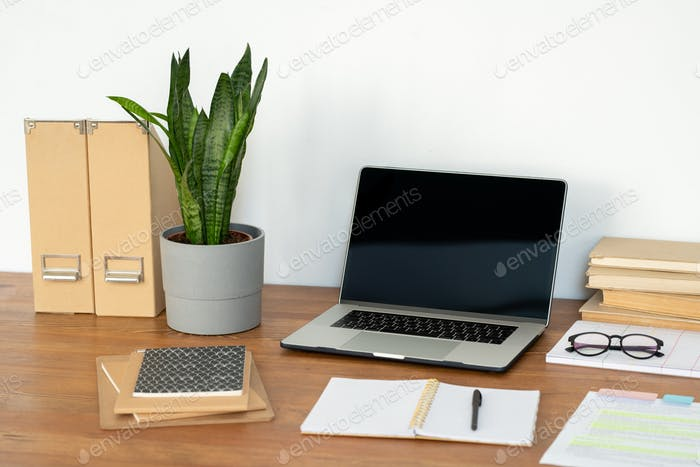 Workplace of office manager with laptop, potted plant, notebooks and books