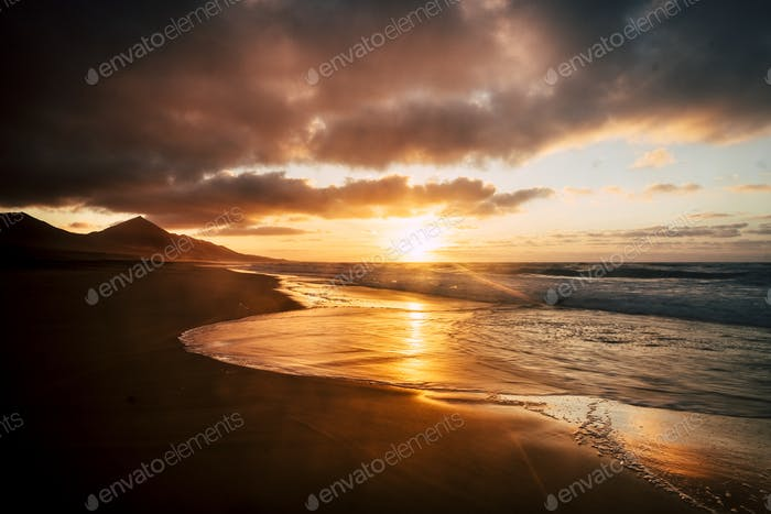 Wonderful timeless sunset at the beach