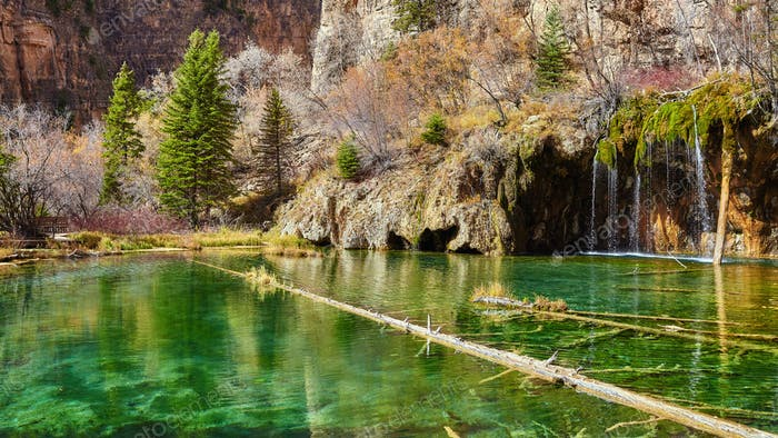 Fallen trees in Hanging Lake, Colorado, USA.