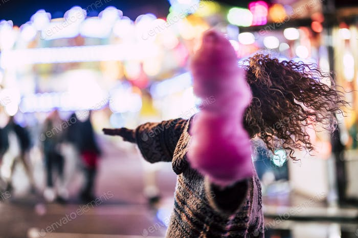 Luna park and nightlife with crazy lady dancing