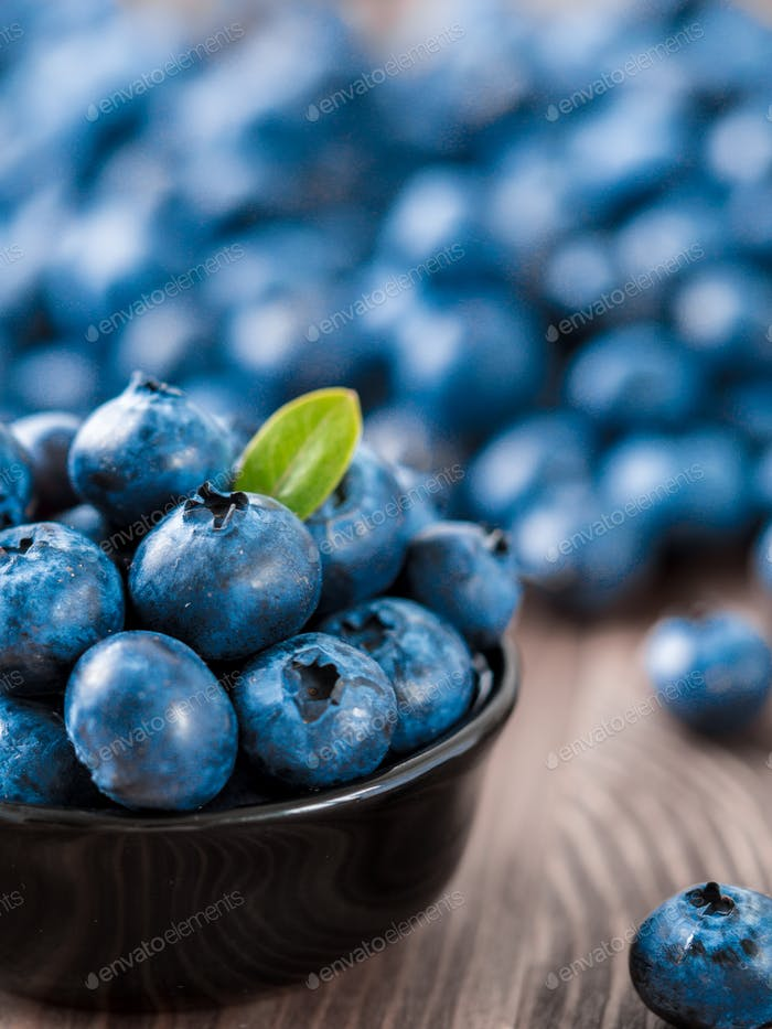 Blueberries in bowl, copy space