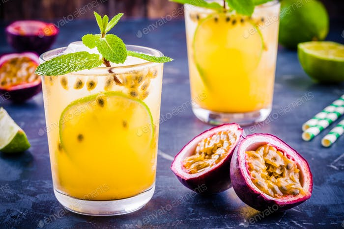 tropical cocktail with passion fruit, lime and mint