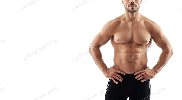 Shirtless muscular incognito bodybuilder posing
