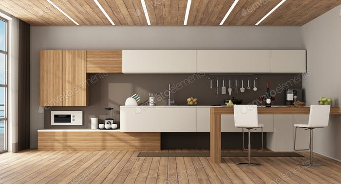 Minimalist kitchen with peninsula and stools