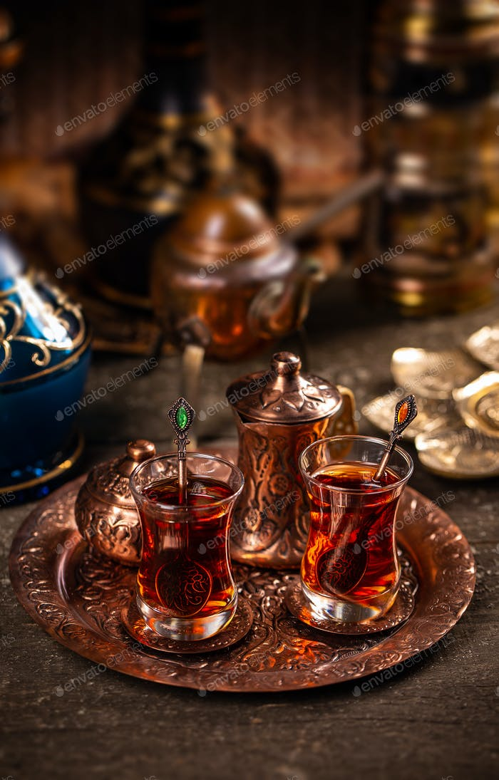Two cups of turkish tea