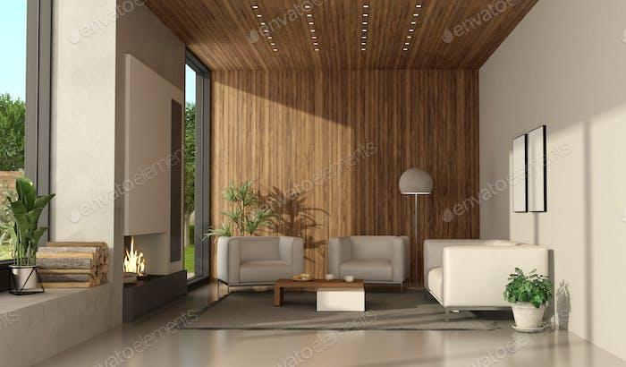 Minimalistisches Wohnzimmer einer modernen Villa mit Kamin