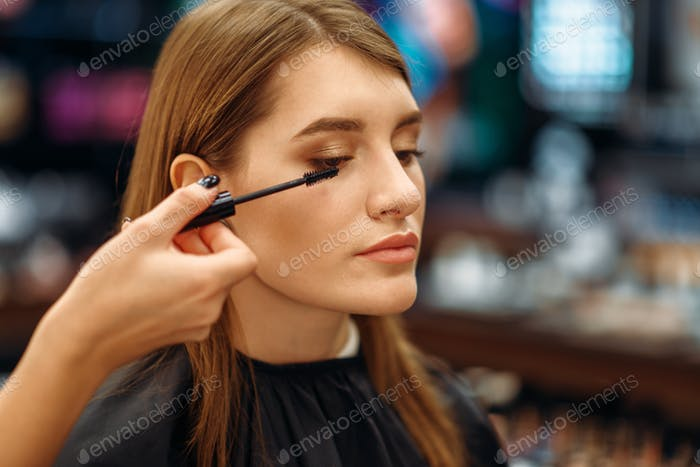 Cosmetician and female customer in makeup shop