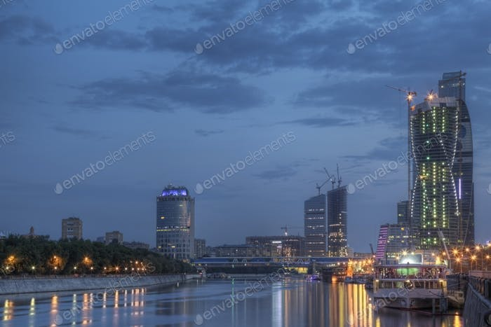 54166,City skyline illuminated at night, Moscow, Russia