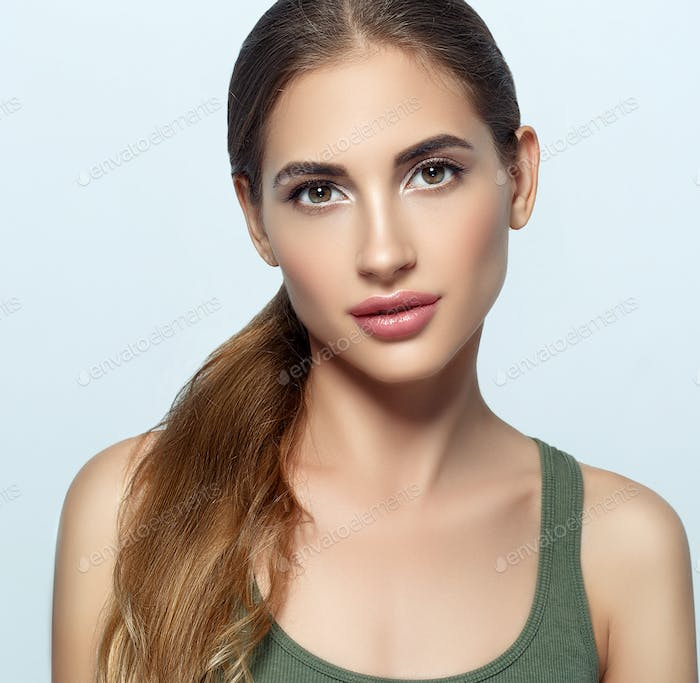 Beautiful woman natural make up classic beauty portrait