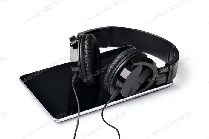 tablet with headphones