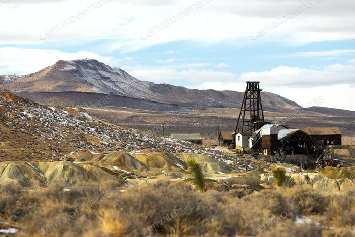 Abandoned Mine Shaft Nevada Territory Mountain Winter