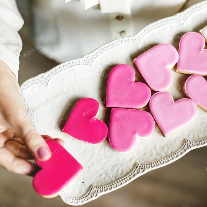 Colorful Cookie Hearts Shape Decorative Love Smitten Valentine