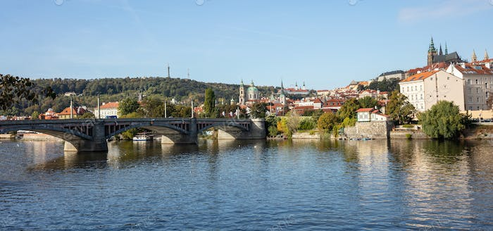 Panoramic view of Prague and Danube river at daytime, Czech Republic, wallpaper.