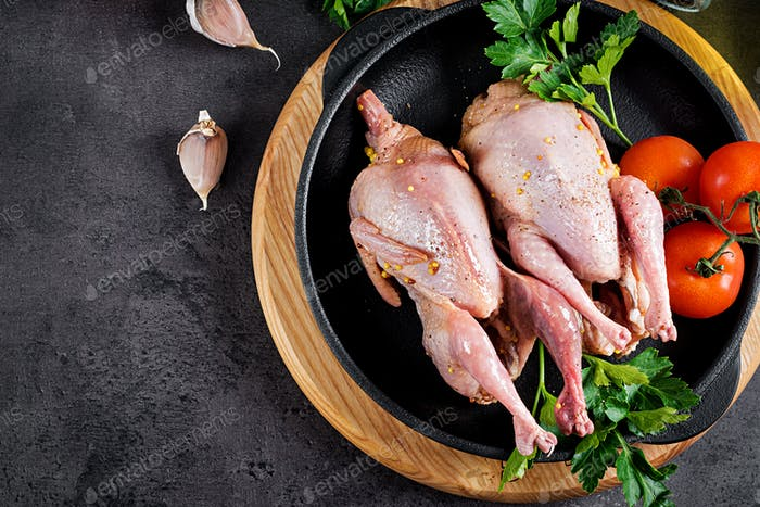 Raw uncooked quail. Ingredients for cooking healthy meat dinner. Top view