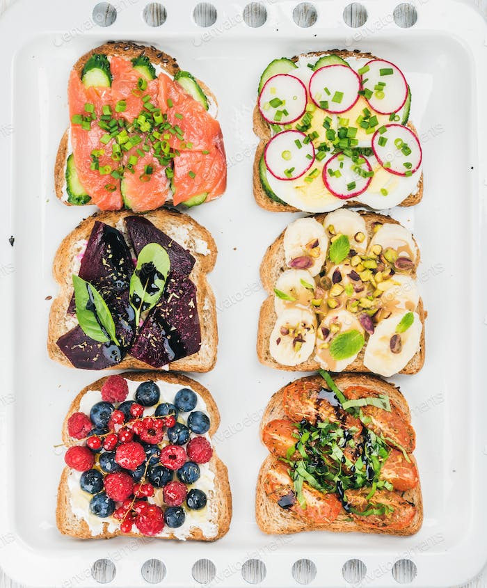 Sweet and savory breakfast toasts assortment