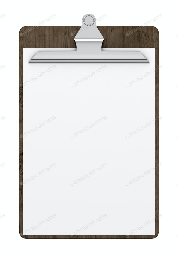 wooden clipboard with blank paper isolated on white background. 3d illustration